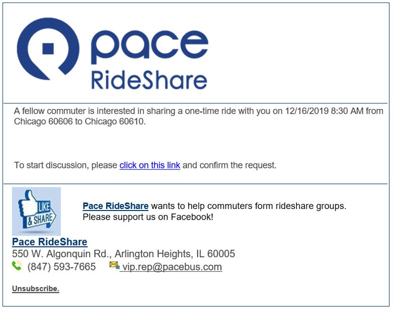 request a one time ride email